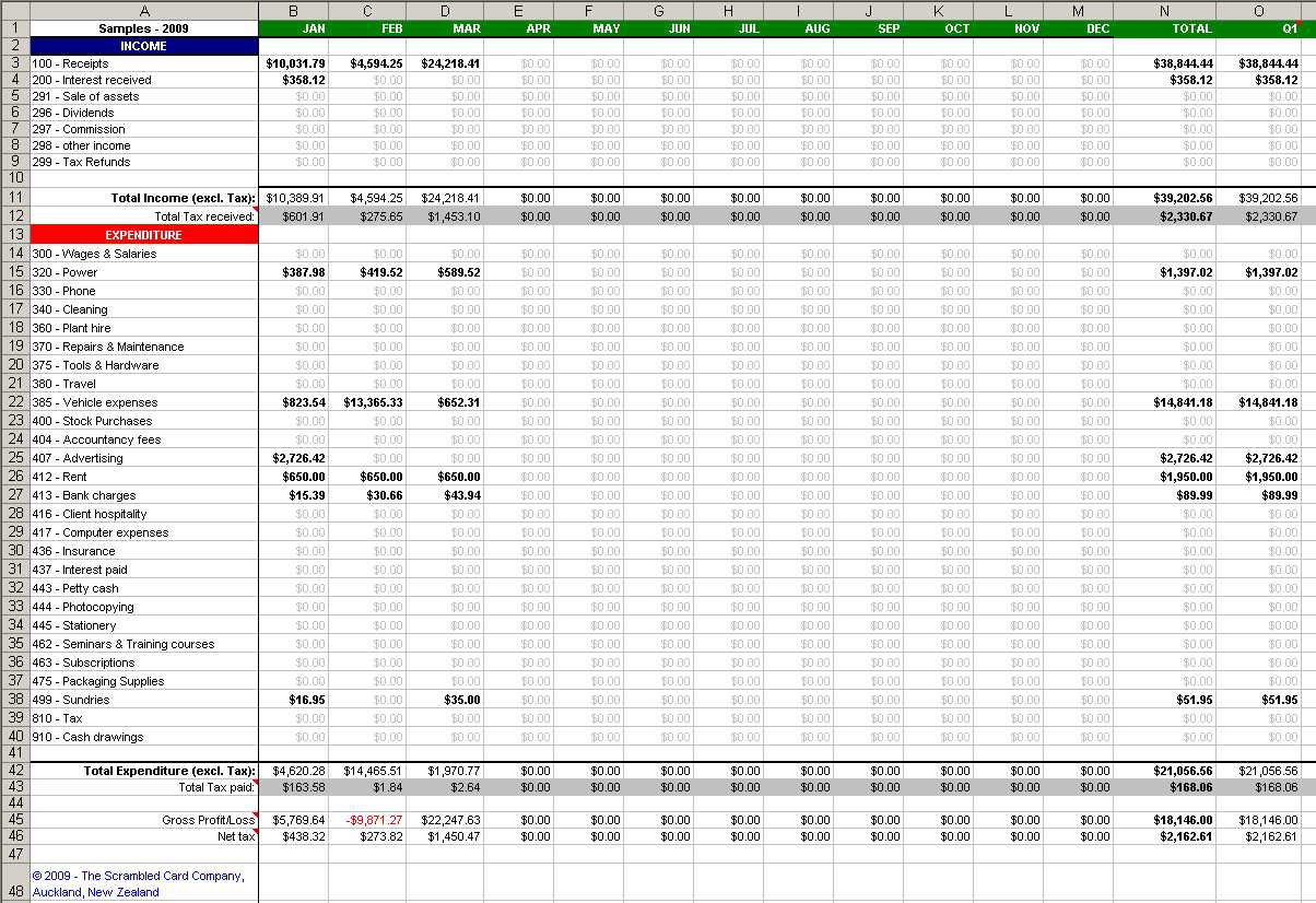 Bookkeeping Spreadsheet 1