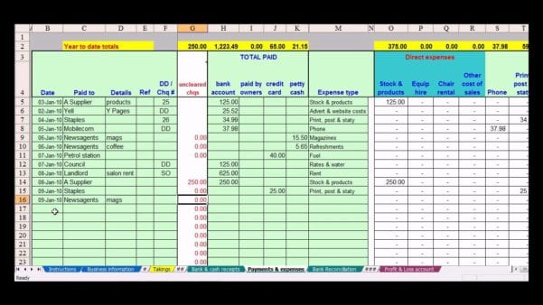 Bookkeeping Spreadsheet Free Download