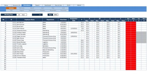 Calculate Employee Attendance Sheet In Excel Attendance Tracking Spreadsheet Template Tracking Spreadsheet, Spreadsheet Templates for Business
