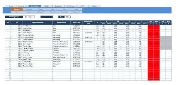 Calculate Employee Attendance Sheet In Excel
