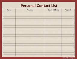 Contact List Template Excel Email Contact List Template Spreadsheet Templates for Business