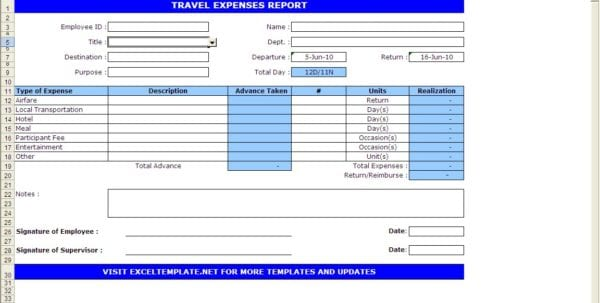 Daily Expenses Excel Worksheet