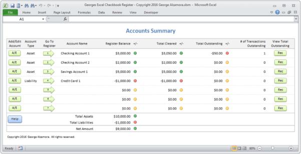 Excel Checkbook Register Formula