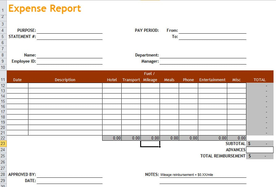 Expense Report Pdf Expense Report Form Excel Expense Spreadshee Expense Spreadshee Travel Expense Report Template