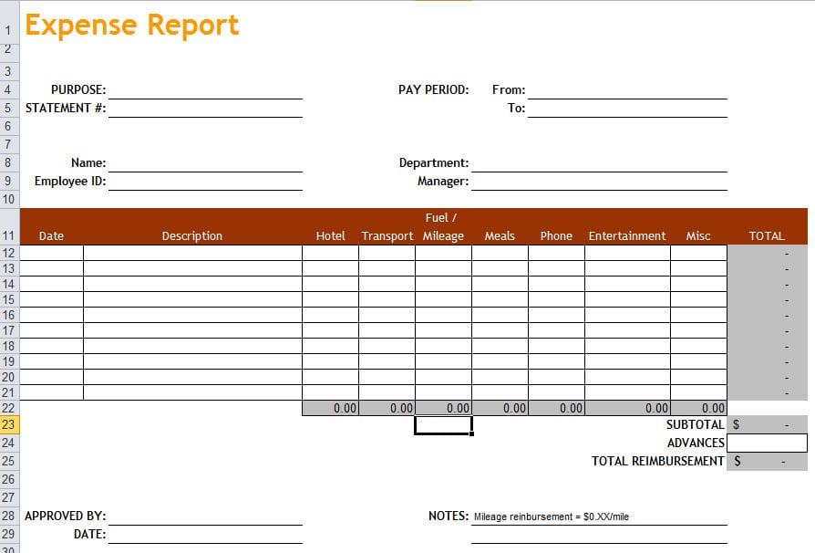 Expense Report Pdf