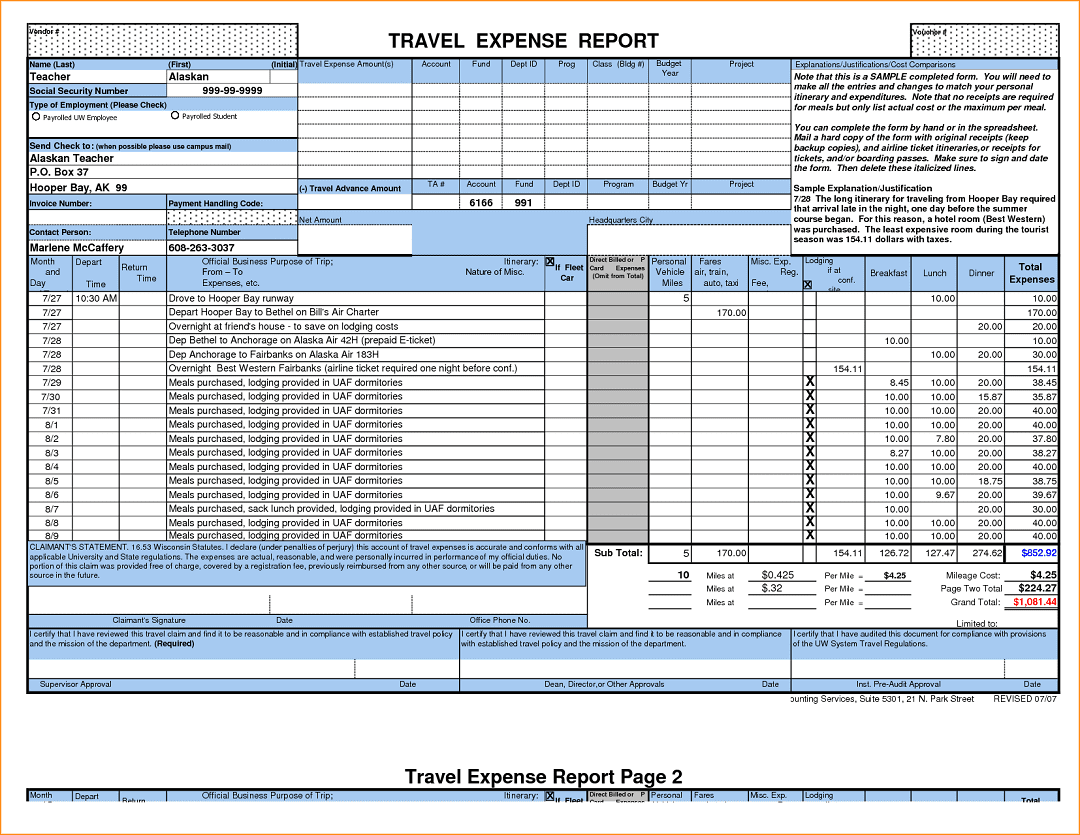 Expense Report Sample Excel
