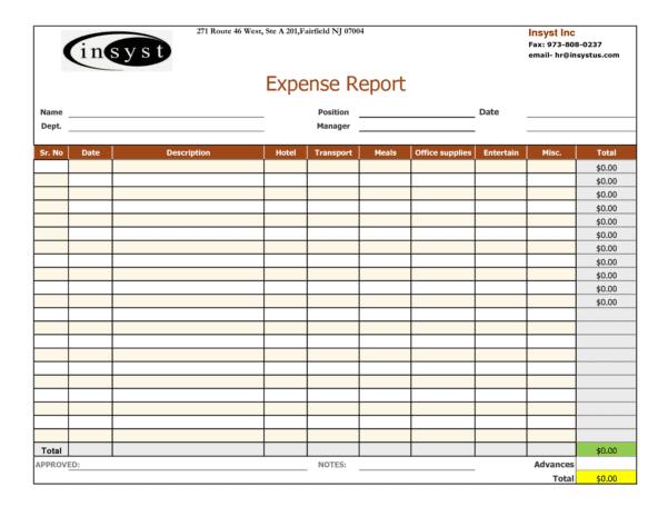 Expense Report Template Google Docs 1