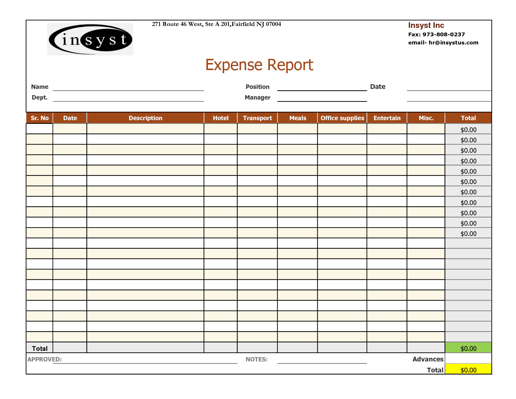 Expenses Template Excel Free
