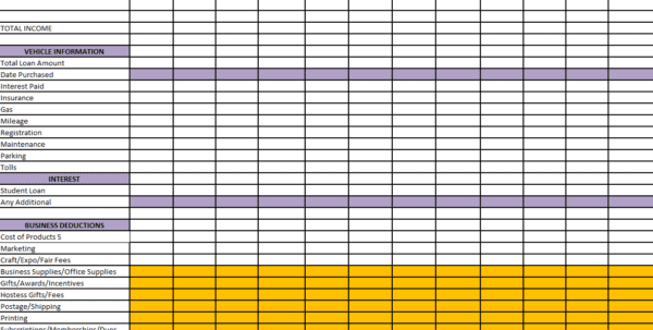 Free Business Tax Expense Spreadsheet