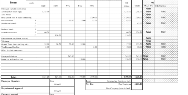 Free Expense Report Form Pdf 4