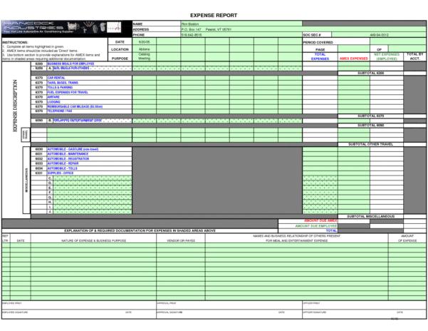 Free Expense Report Form Pdf