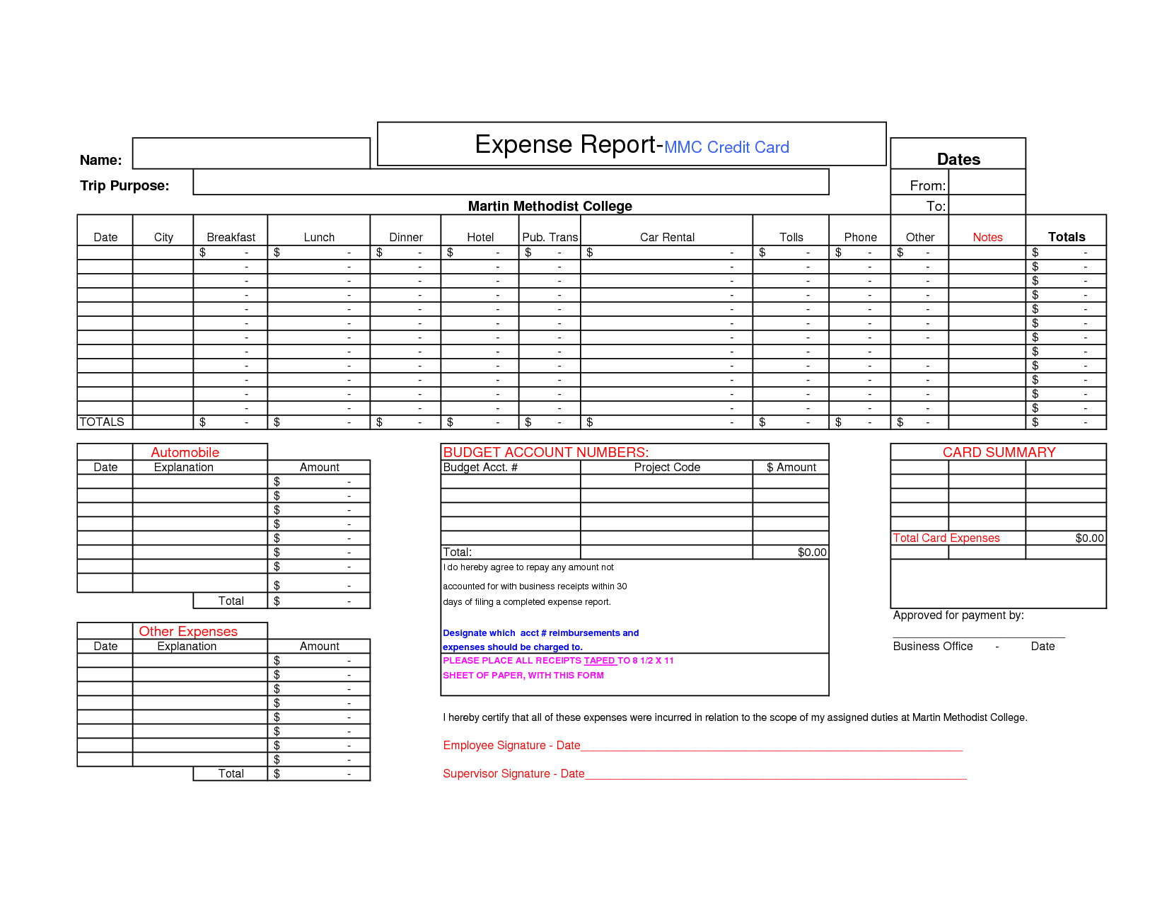 Credit Card Expense Report Template — excelxo.com