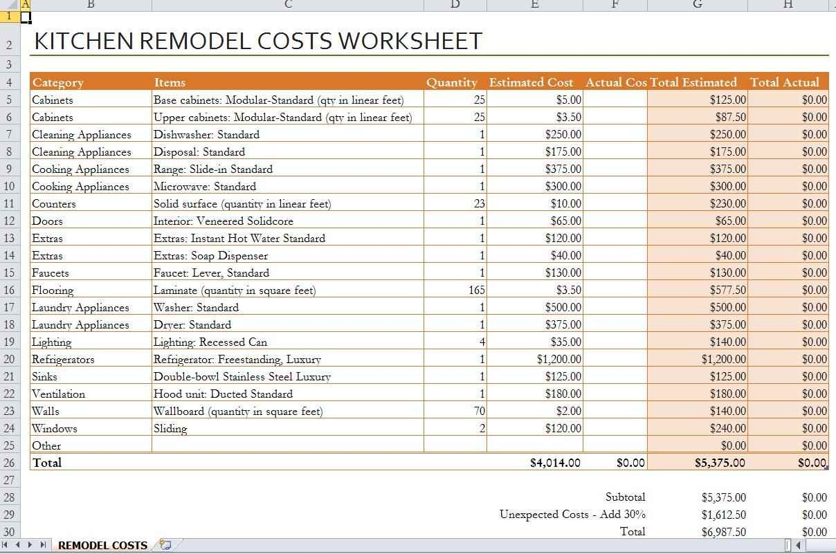 Renovation spreadsheet template spreadsheet templates for for Contractor checklist for building a house