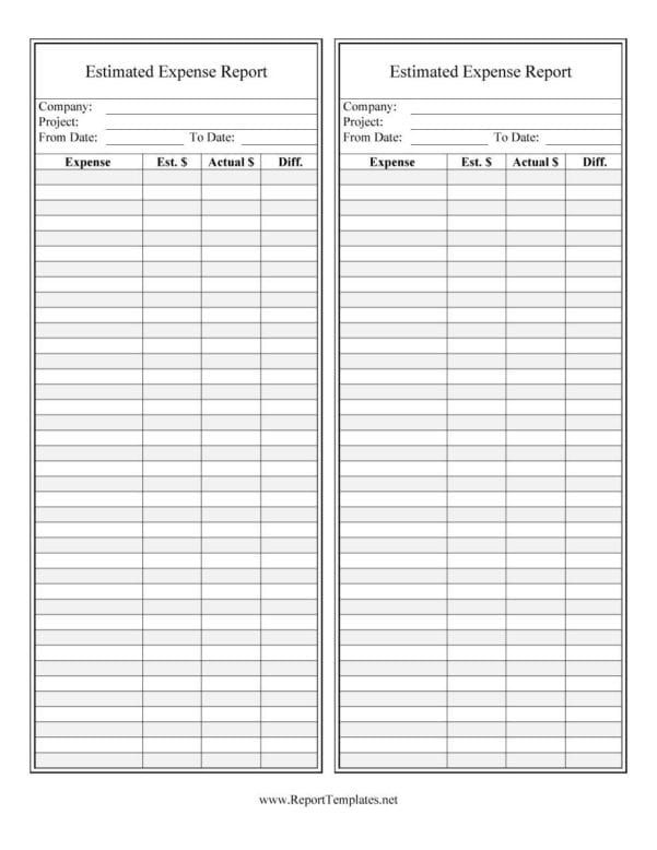 Free Travel Expense Form Template
