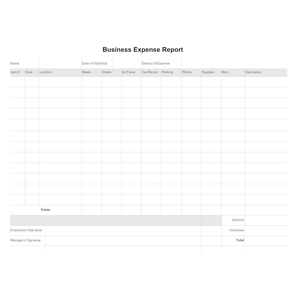 Generic Expense Report Template