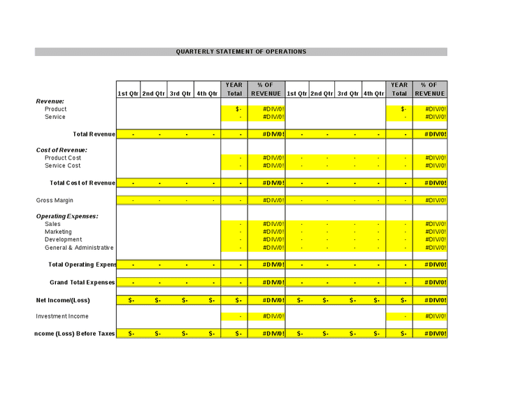 Income Statement Template Excel Quarterly Income Statement Template Income Statement Templat Income Statement Templat Free Excel Income Statement Template