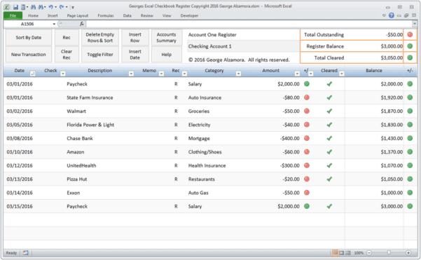 Microsoft Office Checkbook Register Template