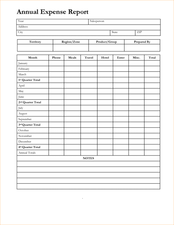 Monthly Expense Report Template 6