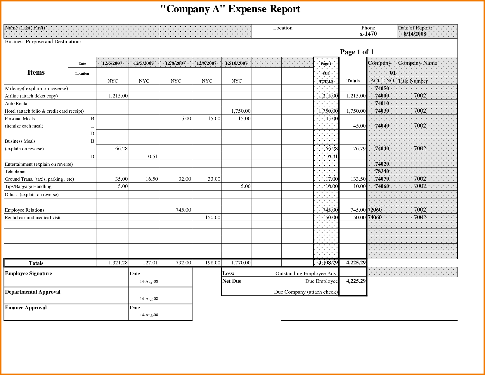Monthly Expense Report Template 7
