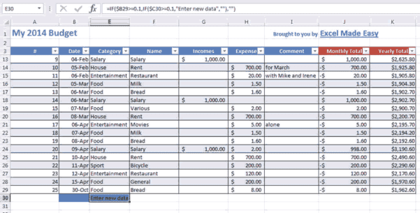 Monthly Expenses Template 1