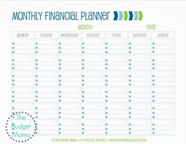 Monthly Financial Planning Worksheet 1