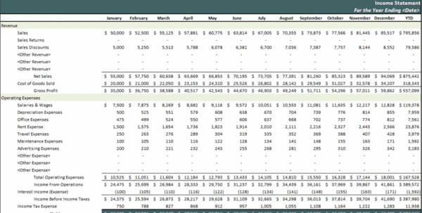 Monthly Income Statement Example