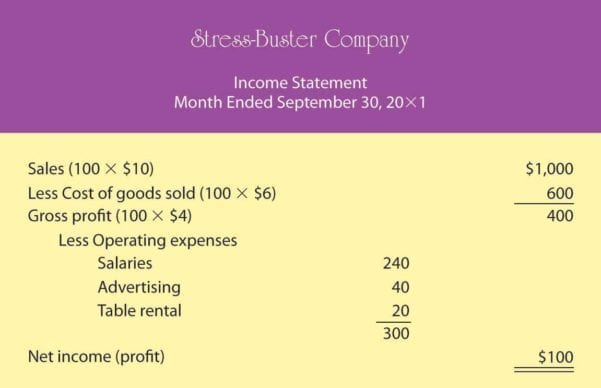 Monthly Income Statement Sample