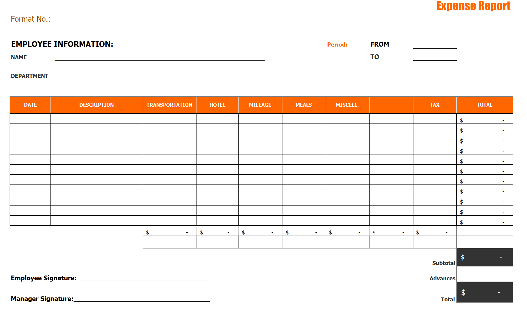 Office Expense Report Template