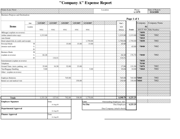 Office Supply Expense Report Template