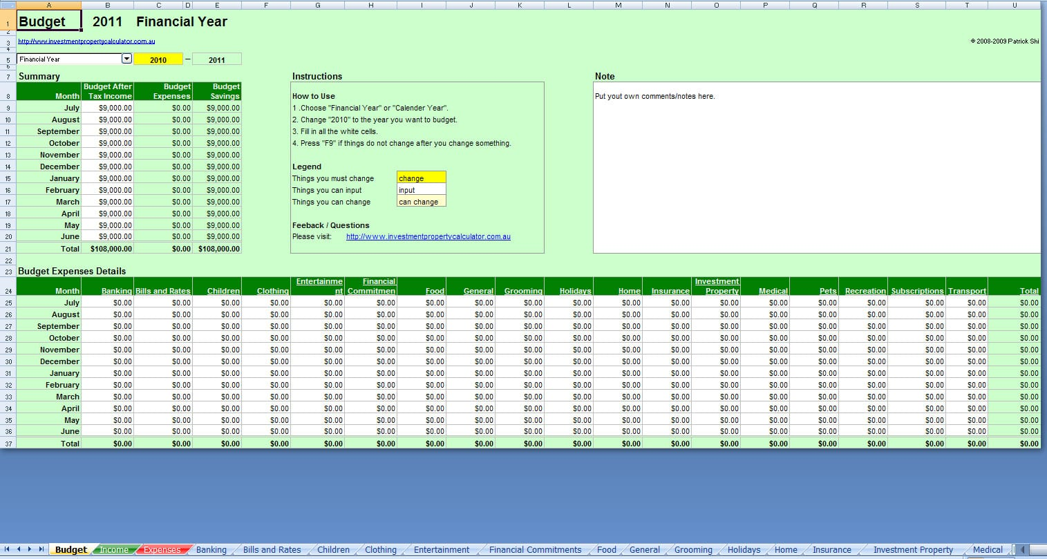 Printable Monthly Budget Template 1