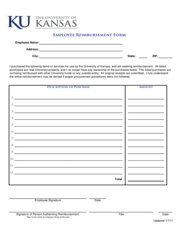 Reimbursement Request Form