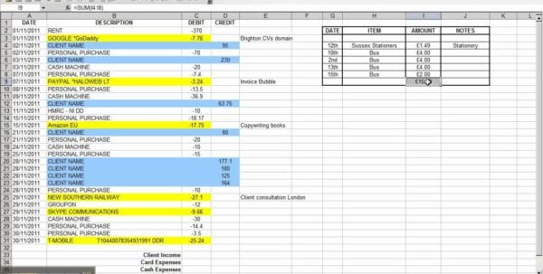 Sample Business Expenses