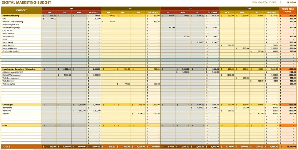 Sample Spreadsheet For Small Business