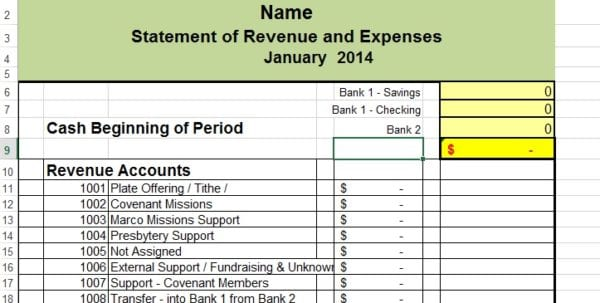 Simple Accounting Spreadsheet 1
