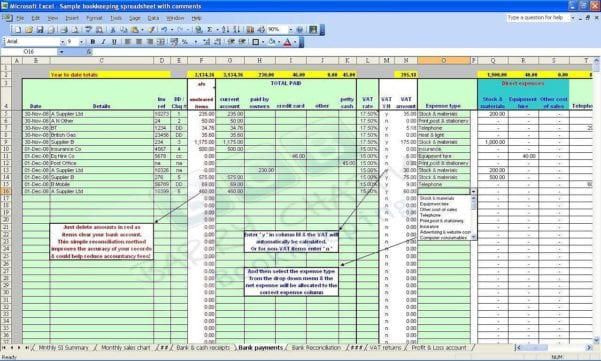 Simple Bookkeeping Sheet