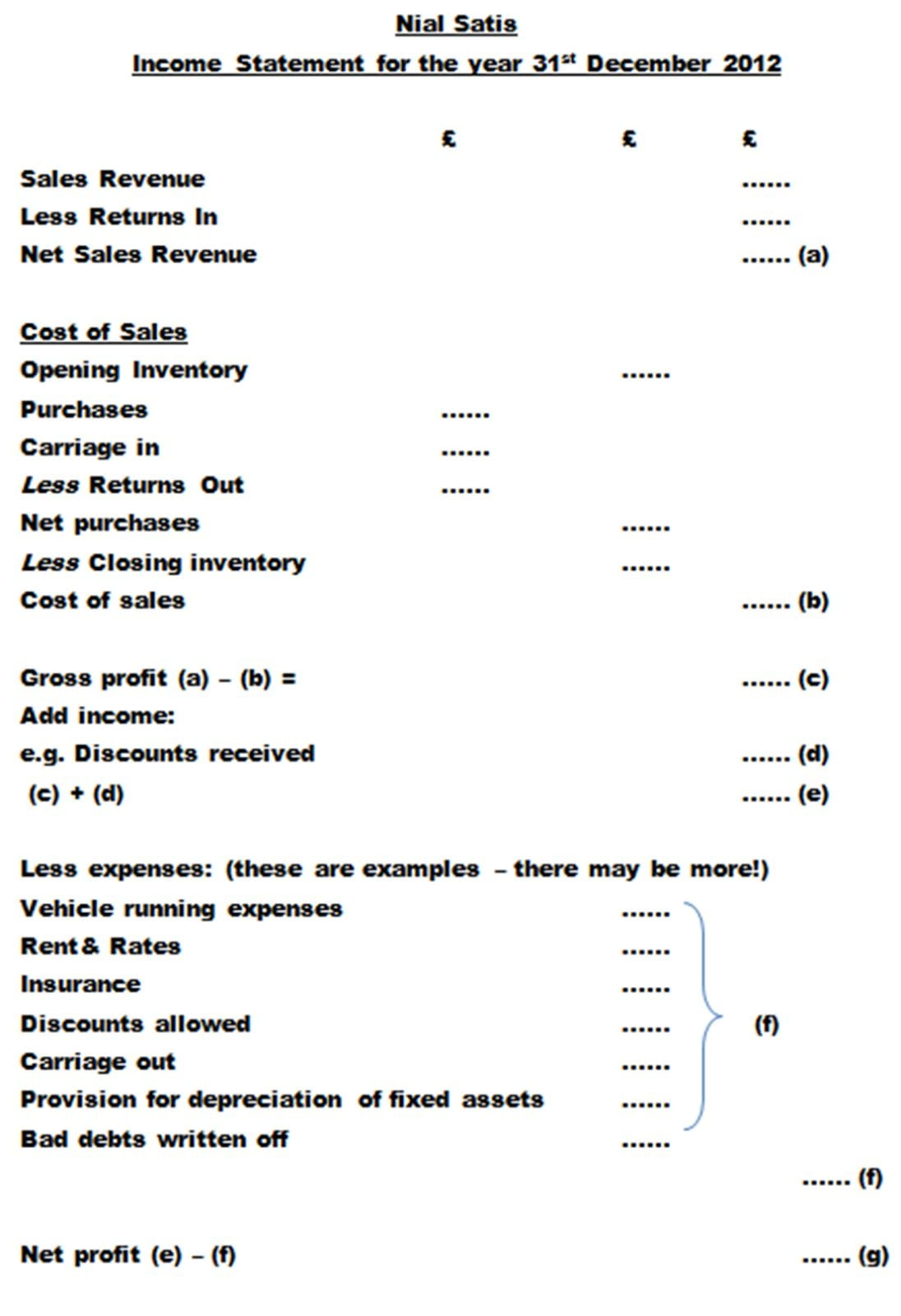 Simple Financial Statement 1