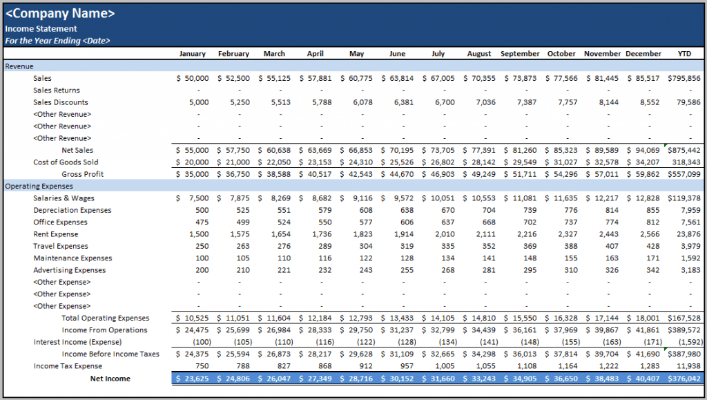 simple business accounting spreadsheet