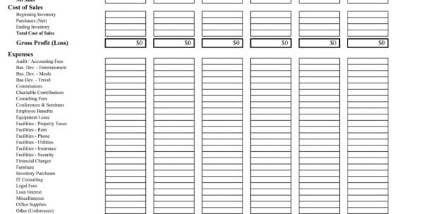 Simple Profit And Loss Statement Template