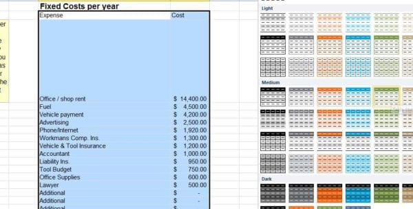Small Business Spreadsheet Excel