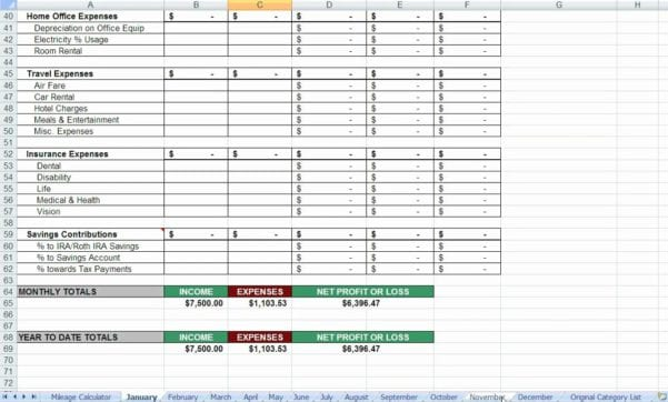 Spreadsheet For Tax Expenses