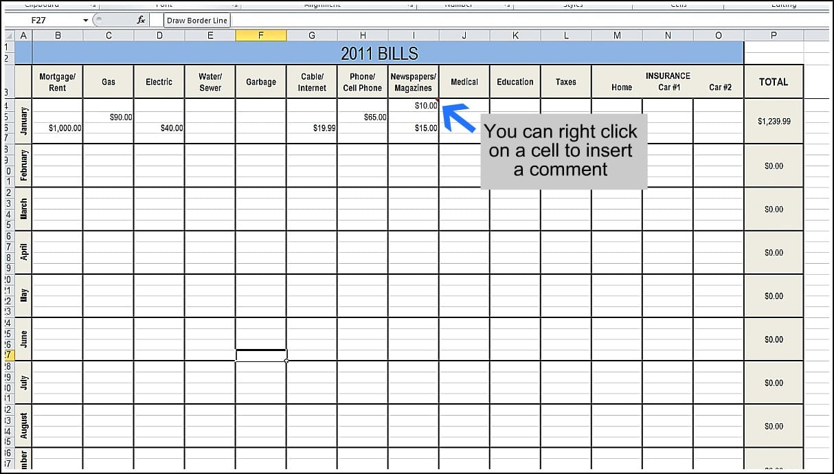 spreadsheet to track expenses
