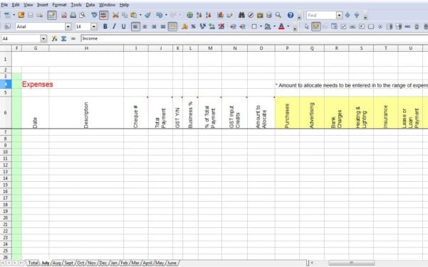 Tax Spreadsheet Template For Business