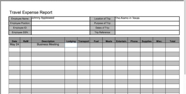Travel Expense Report Template 1 Excel Expense Reports Spreadsheet Templates for Business