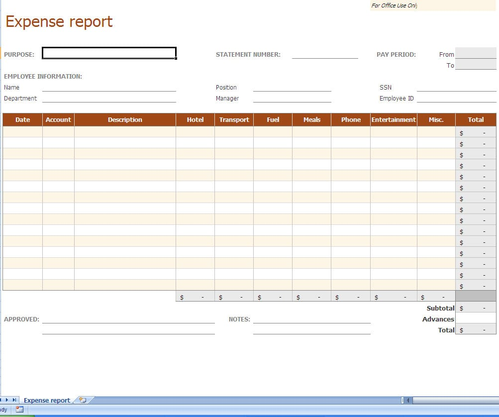 Trucking Company Expense Report