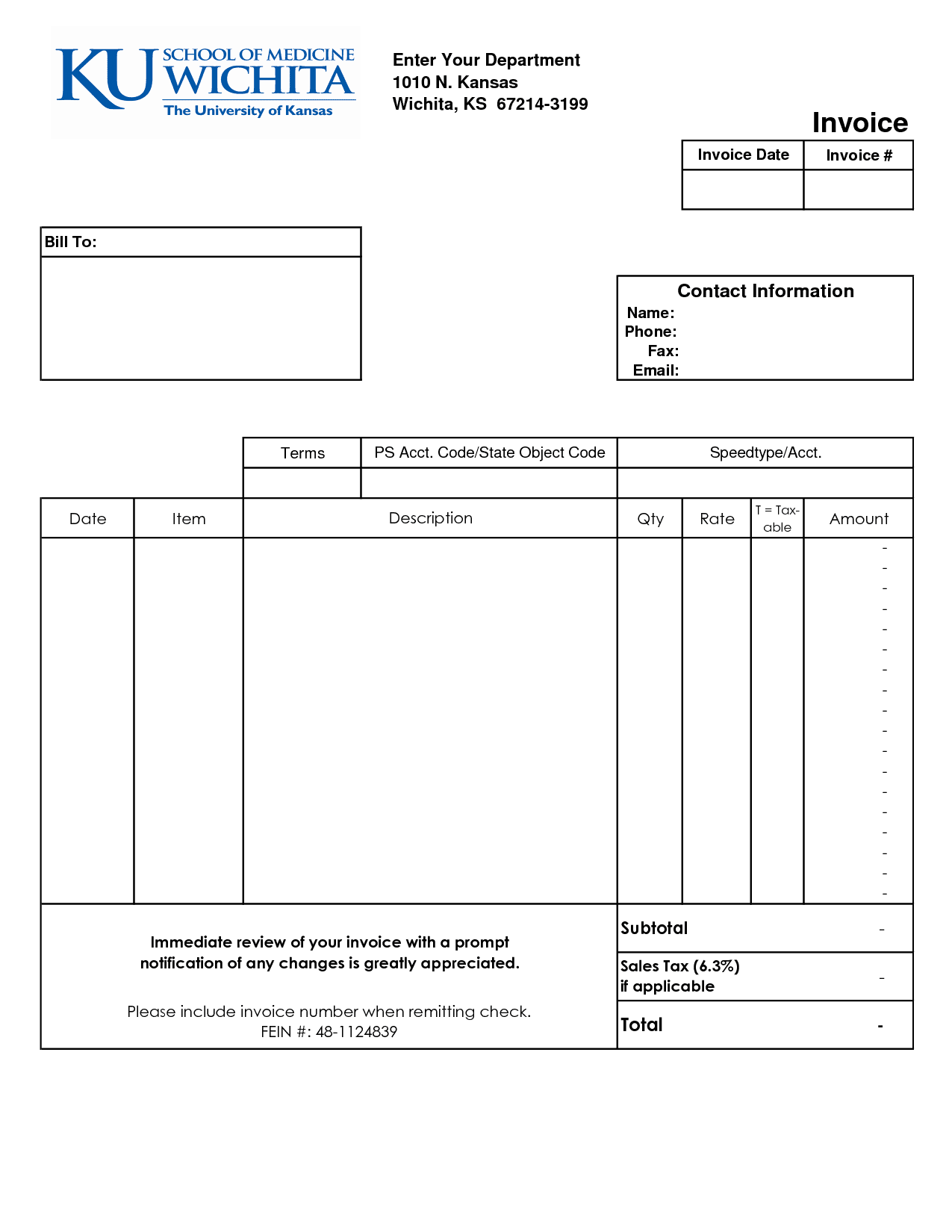 Blank Invoice Template Free