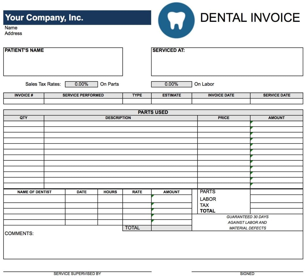 Dental Invoice