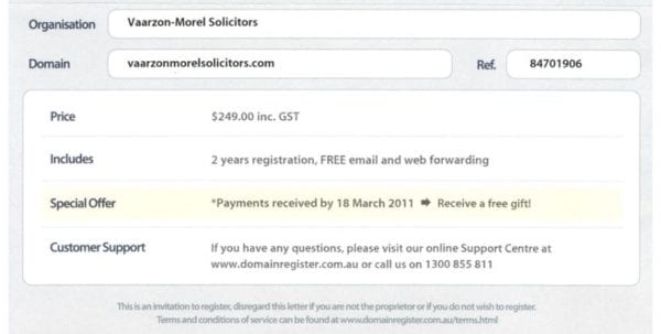 Domain Name Invoice