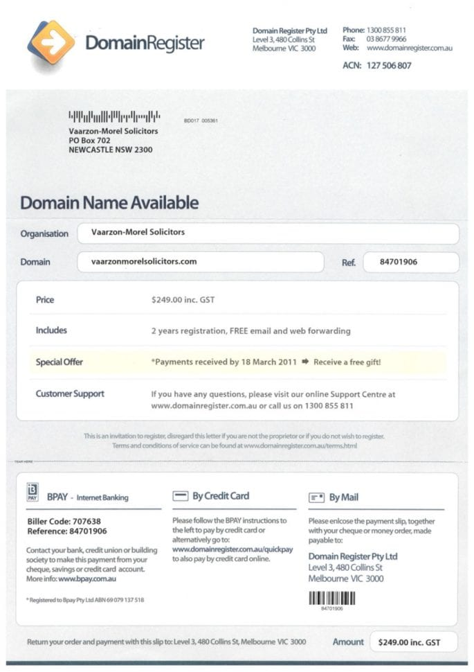 Domain Name Invoice