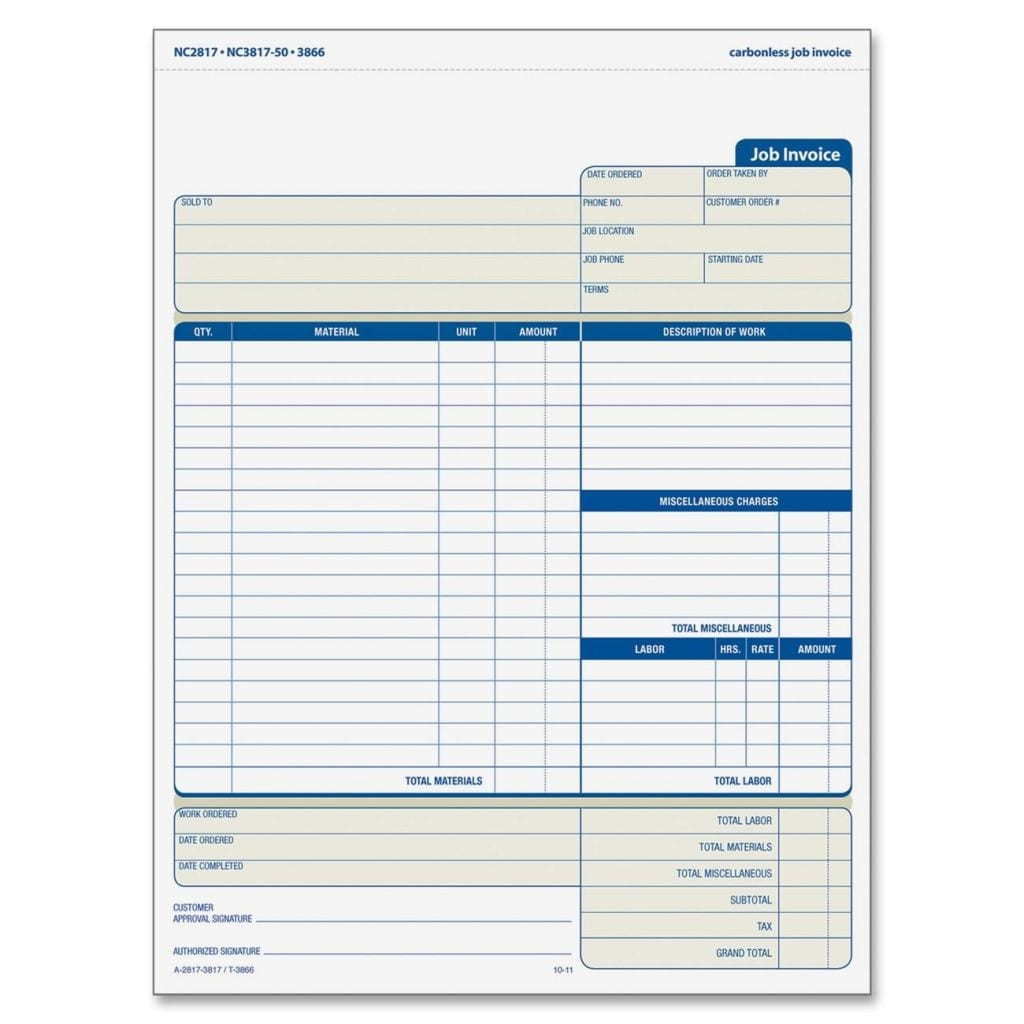 Free Invoices 1 Job Invoice Template Spreadsheet Templates for Busines Spreadsheet Templates for Busines Job Invoice Forms