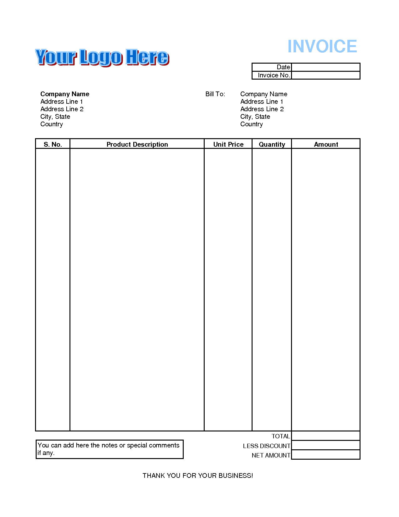Free Invoices Invoice Excel Template Spreadsheet Templates for Busines Spreadsheet Templates for Busines Free Invoices